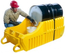 Indoor spill containment caddy - mobile dispensing unit