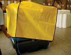 Twin drum bund cover - yellow canvacon