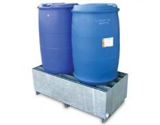 Heavy duty galvanised drum bund two drum