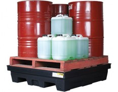 Spill pallet for four drums polyethylene with removable grate