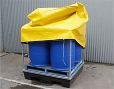Four drum spill pallet covers with steel frame