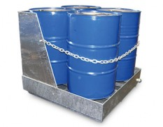 Shrouded, heavy duty galvanised steel drum bund