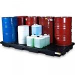 Eight drum low profile bunded spill pallet