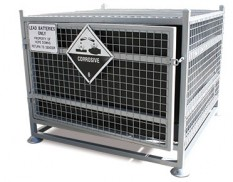 Transportable battery cage with signage