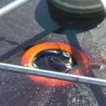 Weir skimmer close up