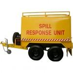 Spill response trailer tandem axle