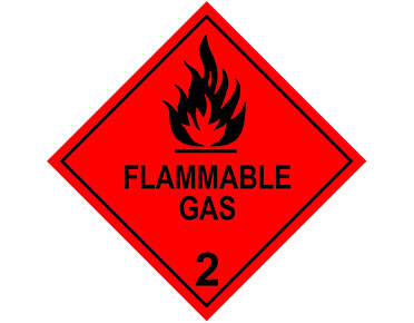 DG class 2 warning flammable gas