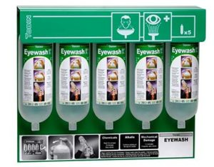 Tobin eyewash wall stand - 5x one litre bottles