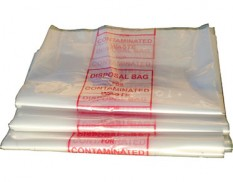 Labelled disposal bag for contaminated waste