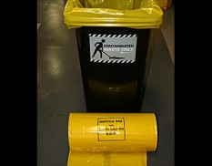 Yellow anti-static, heavy duty bin liner for 240L wheelie bin