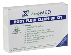 Compact body fluids spill kit