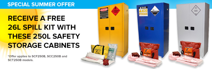 Summer safety cabinet spill kit offer