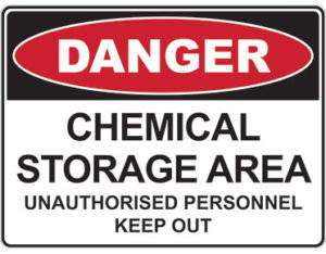 Danger chemical storage area unauthorised personnel keep out safety sign