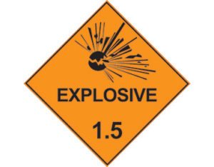Class 1.5 explosives label - dangerous goods diamond sign
