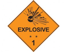 Class ** 1 explosive sign - dangerous goods diamond