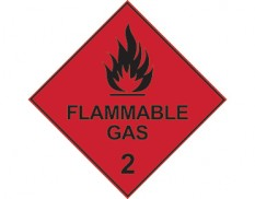 Dangerous goods diamond sign - Class 2 flammable gas sign