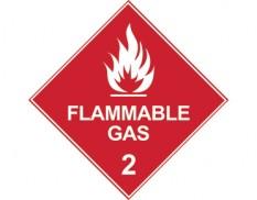 Dangerous goods diamond sign - Class 2 flammable gas sign - white