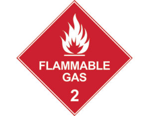 DG diamond sign - Class 2 flammable gas signage - white
