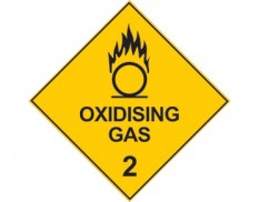 Dangerous goods diamond sign - Class 2 oxidising gas sign