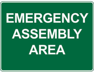Emergency information sign - emergency assembly area