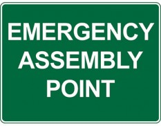 Emergency information sign - emergency assembly point