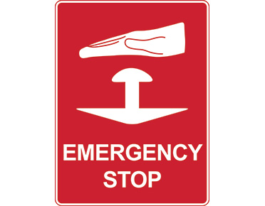Emergency stop sign with button icon - Global Spill Control