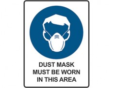 Mandatory safety sign - dust mask must be worn in this area