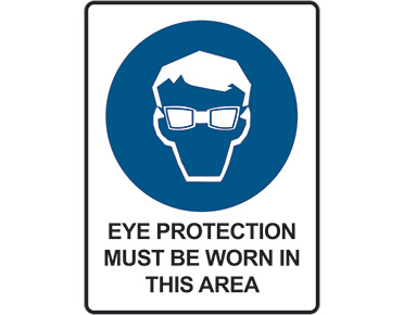 Mandatory safety sign - eye protection must be worn in this area