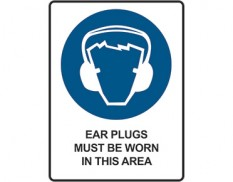 Mandatory safety sign - ear plugs must be worn in this area