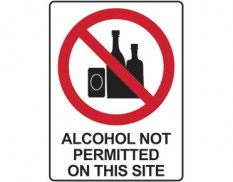 Prohibition sign - alcohol not permitted on this site