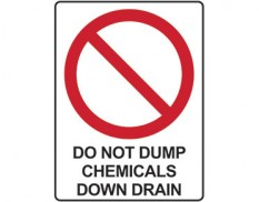 Prohibition sign - do not dump chemicals down drain