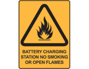 Warning safety sign - battery charging station no smoking or open flames