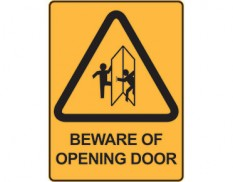 Warning safety sign - beware of opening door