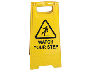 Watch your step a-frame floor stand