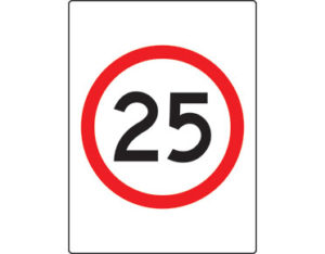 Speed limit sign - 25km per hour