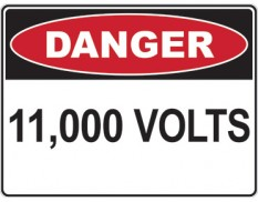Danger 11000 volts - safety sign