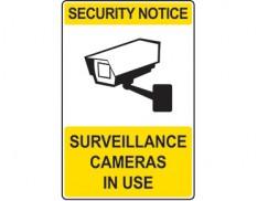 Security sign - security notice surveillance cameras in use