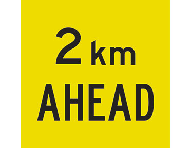 2km ahead sign - multimessage signs