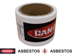 Danger asbestos warning barrier tape