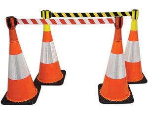 Retractable cone top barrier - two designs