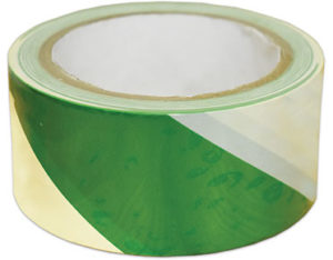 Green and white floor marking tape