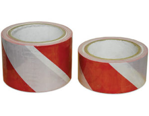 Red and white floor marking tape