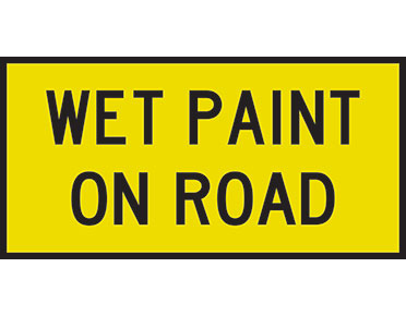 Wet Paint On Road Sign