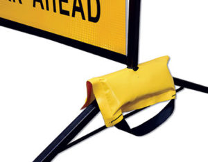 Road sign sandbag weights
