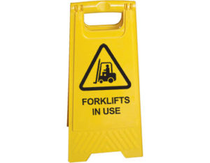 Forklifts in use a-frame floor sign