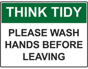 Think tidy hand wash sign