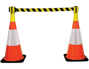 Retractable cone top barrier - yellow and black