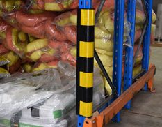 Rubber corner protector on pallet racking
