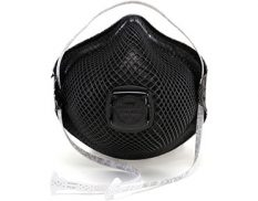 Disposable valved black respirator with HandyStrap