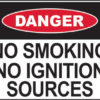 Danger no smoking no ignition sources sign